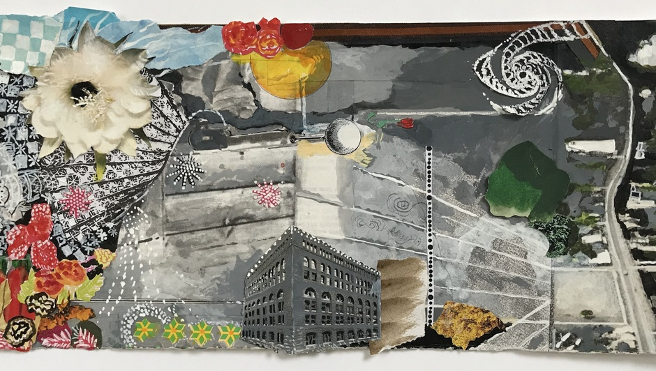 Sally Gil  Marshall's Feeling  2017  collage, acrylic and casein on paper  7.75 x 15.75 inches