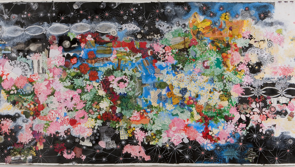 Sally Gil, Space Funeral, 2010, collage, acrylic, casein and house paint on paper, 42 x 93 in.