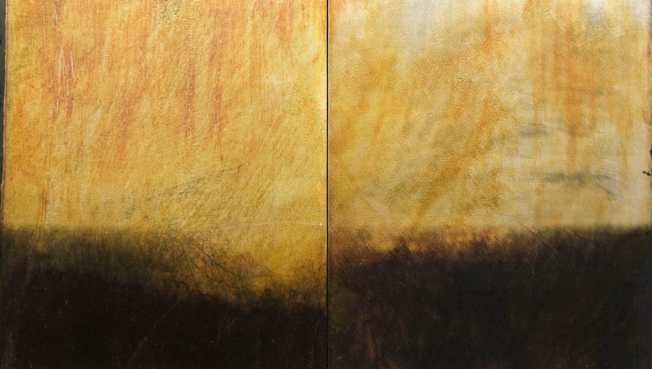 Dorothy Simpson Krause, Sillver Rain (diptych), 2008, custom textured substrate on board, 24 x 32 in.